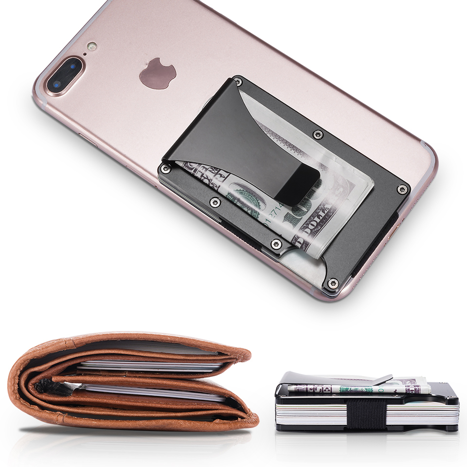 Portable Aluminum Money Clip Cash Clamp Holder Card Wallet Purse for Pocket Metal Money  ...