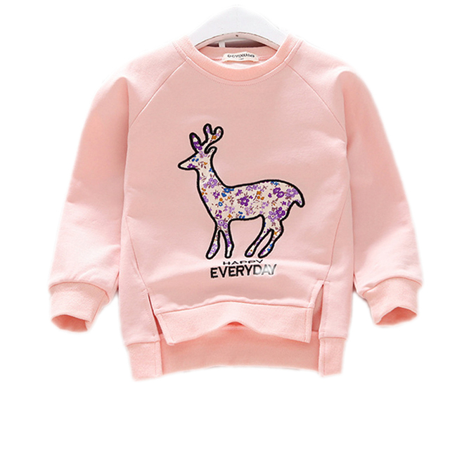 2017 Baby Girls Clothes Casual Kids Sweatshirts Autumn Cotton Girls Tops Cartoon Deer Girls Hoodies Outerwear Children Clothing
