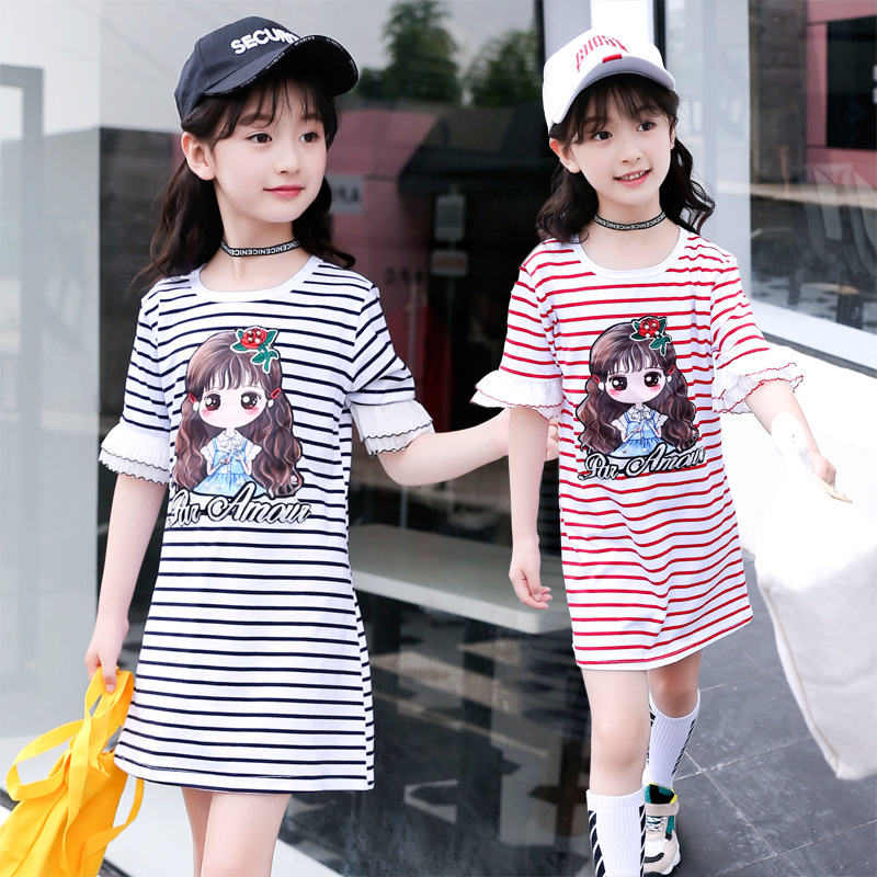 Girls dress cotton short-sleeved round neck letter bottoming shirt summer cartoon striped fashion childrens clothing