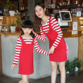 Family Matching Clothes Fake 2pcs Striped Mother Daughter Dresses Mom and Daughter Dress Clothes Family Set Cotton Clothing BY8