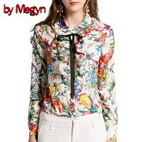Durch Megyn frauen blusen plus größe frauen shirts langarm-shirt feminine mode blume snake print rüschen bluse shirts weibliche