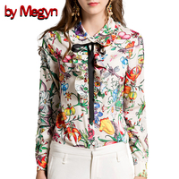 by Megyn women blouses plus size women shirts long sleeve shirt feminine fashion flower snake print ruffle blouse shirts female
