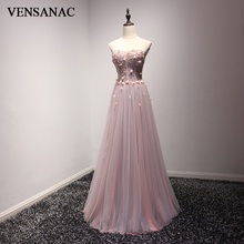 VENSANAC 2018 Crystal A Line Strapless Long Evening Dresses Elegant Beading Party Lace Appliques Flowers Prom Gowns