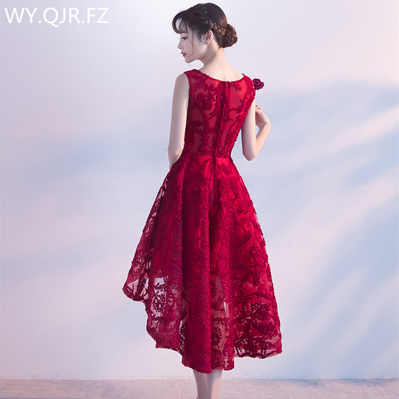 Detail Feedback Questions about DLFS Front length Short behind Wine red  Lace Bridesmaid Dresses wedding party dress 2018 prom gown women s fashion  wholesale ... d167da724d54