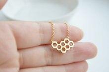 1PCS- N046 Fashion Honey Comb Bee Hive Necklace Cute Honeycomb Necklace Beehive Necklaces Hexagon Necklace 10pcs b024 fashion cute honeycomb bracelet beehive bracelet honey bee comb hive bracelet hexagon bracelet