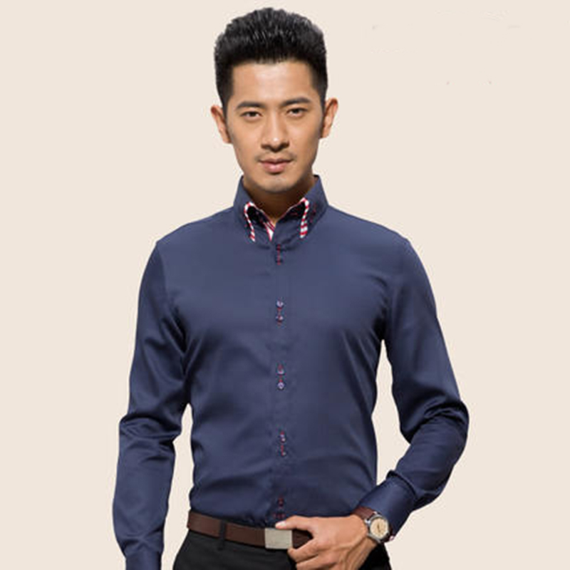 Man Long Sleeve Shirts Men 100% Cotton Shirt Formal Office Business Striped Dress Shirts Male colothing tops camisa mascul