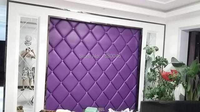 Europe Luxurious Purple Color Faux Leather Panel With Diamonds Wall Sticker Interior Decor For