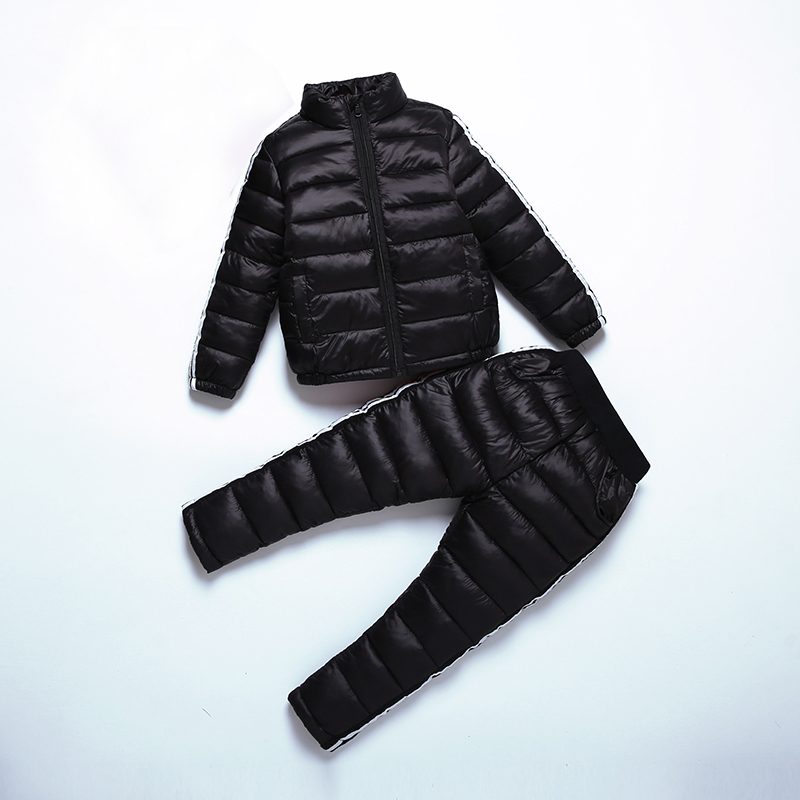 2017 Winter Kids Solid Clothing Sets Warm Thicken Cotton Padded Jackets Suits Baby Girls&Boys Down Coat With Pants 90 140cm