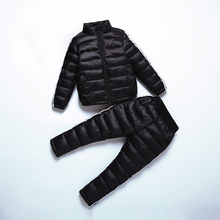 2017 Winter Kids Solid Clothing Sets Warm Thicken Cotton-Padded Jackets Suits Baby Girls&Boys Down Coat With Pants 100-150cm цена в Москве и Питере