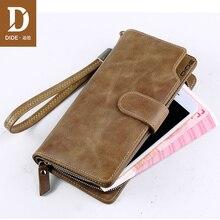 DIDE Genuine Leather Men Wallets Double Zipper Money Clip Male Walet Vintage Purses Long Phone Wallet Mans Clutch Bags 617