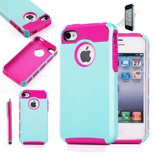 Hybrid Rubber Rugged Combo Matte Hard Silicone Phone Cover Case for iPhone 4 iPhone 4S  Case Cover Screen Protector