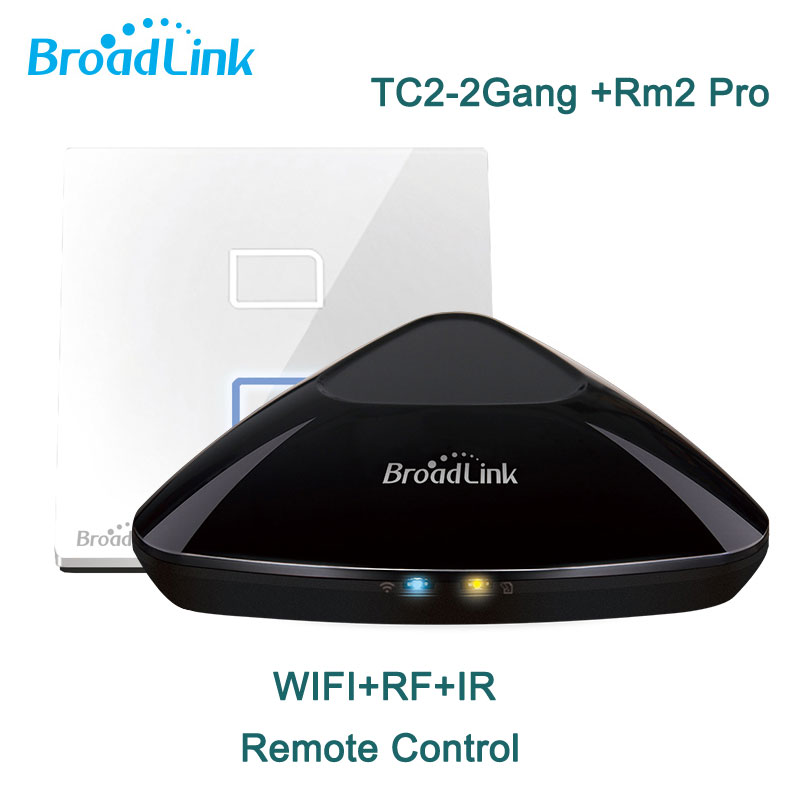 Broadlink RM2 RM Pro Intelligent Remote +TC2 2 Gang Wifi Light Switch,Smart Home,Wifi + IR + RF Switch,Control via IOS Android hot sale uk standard broadlink rm2 rm pro smart home automation remote controller wifi ir rf switch ios android free shipping