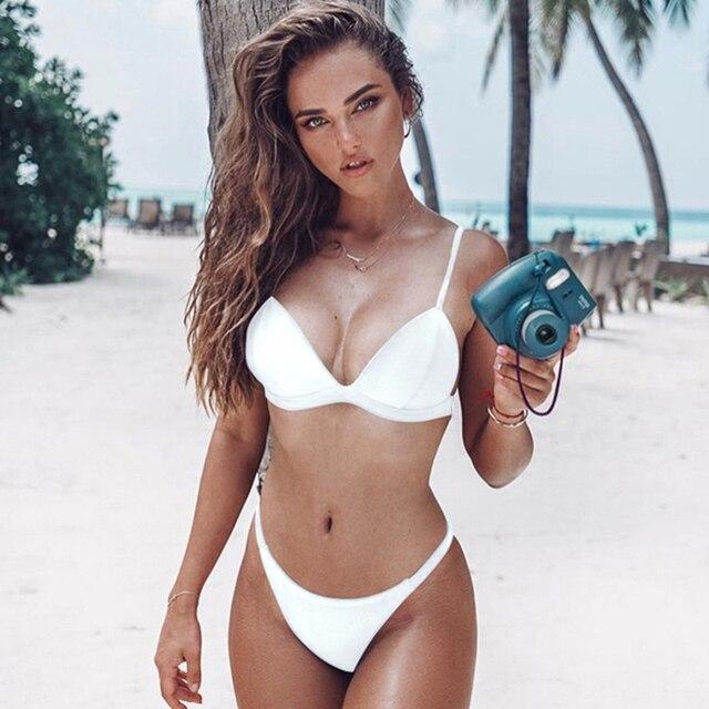 5096f390a185b Blanco Tanga Sexy Bikini traje de baño mujeres Micro Bikinis Mujer de traje  de baño trajes