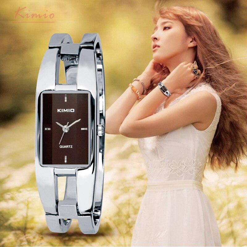 Prix pour Kimio Marque Femmes de Bracelet Montres Diamant En Acier Inoxydable Robe Dames Quartz Montre Femme Relogio Feminino Horloges Vrouwen