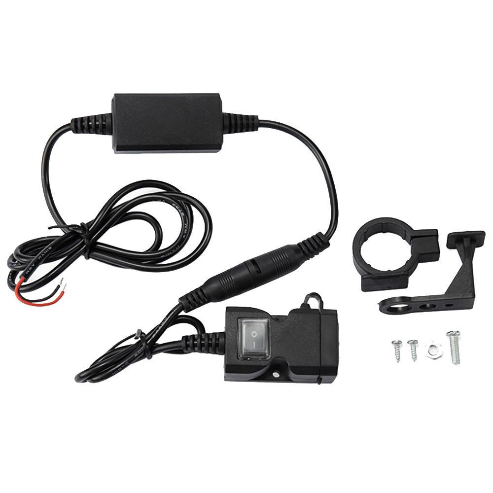 Waterproof Dual USB 12V Motorcycle Handlebar Charger Socket w// Switch /& Mounts