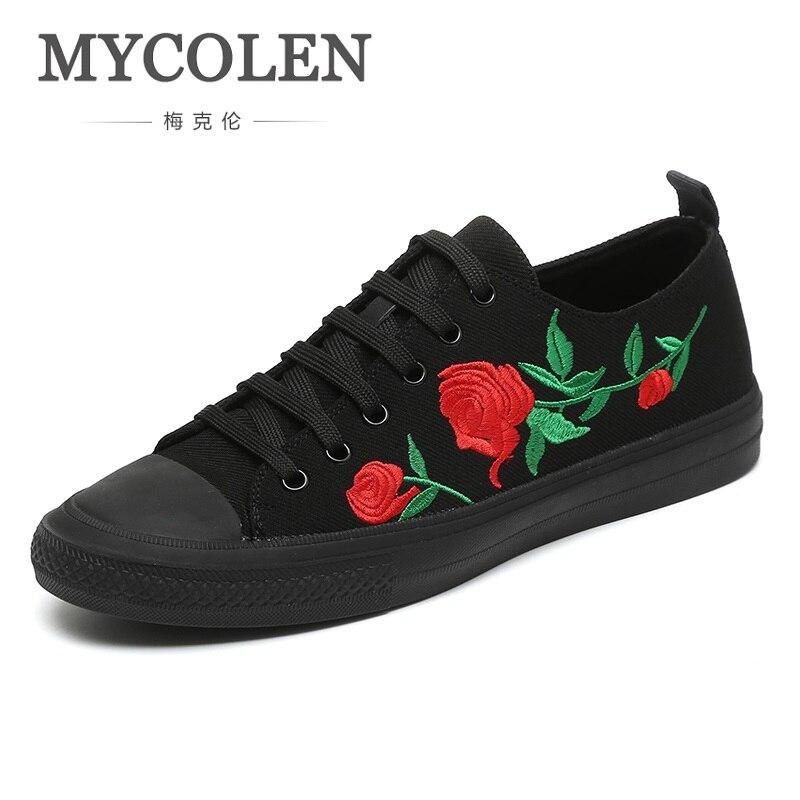 MYCOLEN New Brand Fashion Shoes Men Casual Trending Footwear Black Canvas Handmade Lace-Up Tide Men Shoe Sapato Masculino Luxo