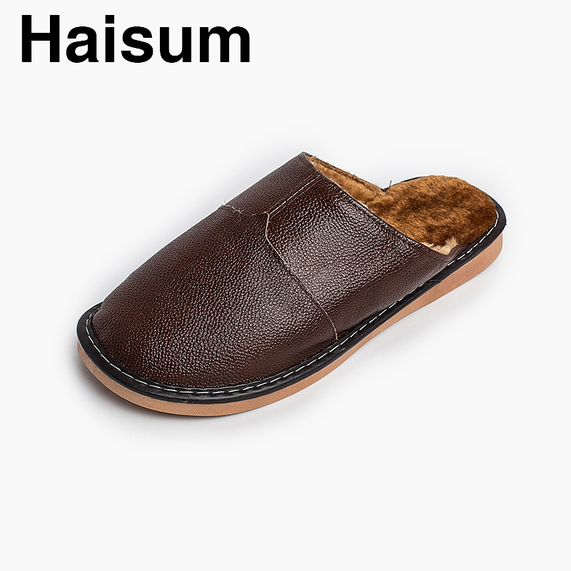 Men 's Slippers Winter genuine Leather Home Indoor Non - Slip Thermal Slippers 2018 New Hot Haisum H-8825 201818 men s slippers tott