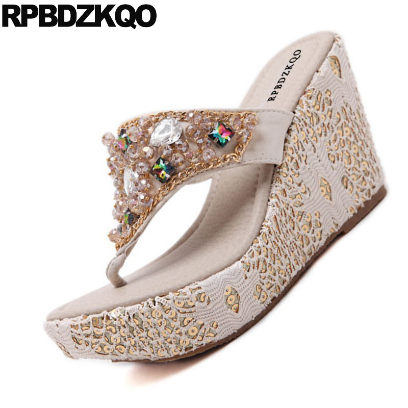 e8cf052ca08 Women Female Shoes Diamond Flip Flop Rhinestone Crystal Slides Lace Chain  Pumps Jewel Wedge Sandals High Heels Platform Slippers-in High Heels from  Shoes on ...