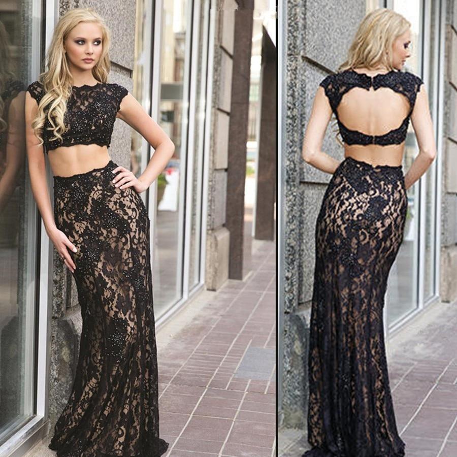 2 Piece Black Lace Prom Dress