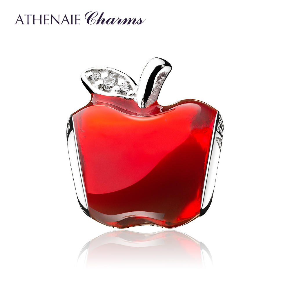 ATHENAIE Silver 925 Bead Clear CZ Red Enamel Lucky Fruit Apple Charms Fit Bracelet & Bangle and Necklace Women GiftsATHENAIE Silver 925 Bead Clear CZ Red Enamel Lucky Fruit Apple Charms Fit Bracelet & Bangle and Necklace Women Gifts
