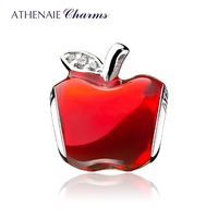 ATHENAIE Silver 925 Bead Clear CZ Red Enamel Lucky Fruit Apple Charms Fit Bracelet & Bangle and Necklace Women Gifts