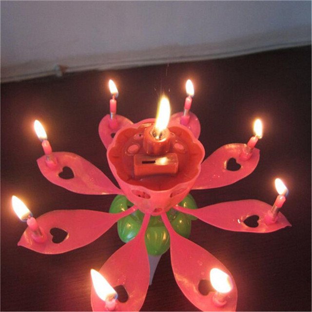 2pcs Romantic Singing Birthday Candle Flowering Music Candles Musical