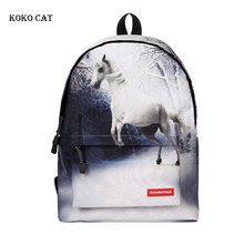 цена на Animal Canvas Backpacks Cute Elephant tiger 3D cartoon printed Bag Casual Children School daily Rucksacks Mochila Mujer