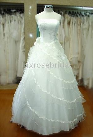 dress for brides Simple style White / champagne Floor length ball gown ,Wedding
