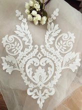 2 pcs /lot Exquisite Wedding Lace Applique in Ivory , Bridal Veil Bodice Garter Motif Patch for Gown Women Dress