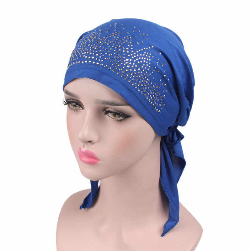 692b7dc7889 New Women Breathable drill Cotton Pre-Tied Scarf Turban Hat Chemo Beanies  Caps Headwear For