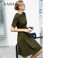 Amii Women Minimalist Summer Dress 2018 Solid Office Lady A Line Plus Size Knee Length Female Dresses Original Design