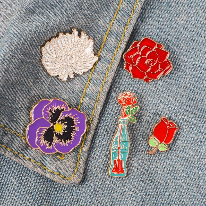 Planta flores esmalte pin Margarita Rosa flor roja suculenta insignia broche de solapa Denim Jeans camisa bolsa de regalo de joyería de dibujos