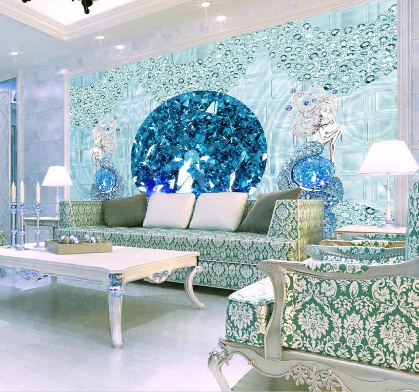 Europea luxury 3d stereoscopic mermaid wallpaper murals - Wallpaper design for living room price ...