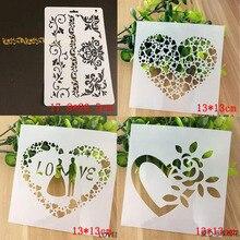 4pcs Heart Stencil For Drawing Template Scrapbooking Album Painting Mesh Bullet Journal Stencils Paint Crafts Decor