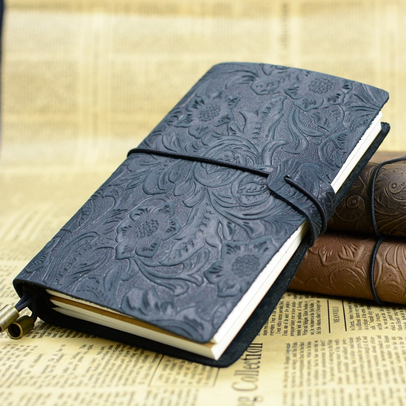 1pcs Retro Tie line travel notebook handmade leather notebook leather notebook retro European style diary gift 01659 freeshipping retro handmade stitching binding cloth covered notebook chinese style lotus printing notebook