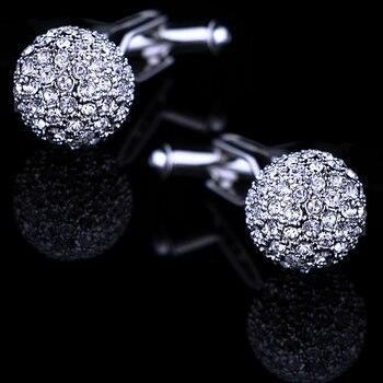 KFLK Jewelry Brand Silver Crystal Fashion Cuff link Button High Quality shirt cufflink for mens Luxury Wedding Free Shipping 4