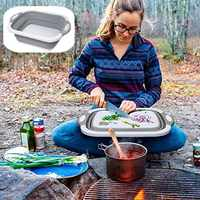 4-IN-1 MULTI Outdoor Travel Portable Collapsible Folding Cutting Boards Washable Chopping Board Drying Rack Vegetable Basket