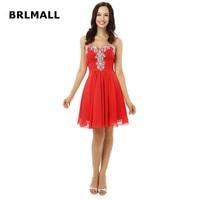 2018 Simple Red Bridesmaid Dresses Chiffon Beading Crystal Mini Custom Made Sweetheart A Line Cheap Bridesmaid