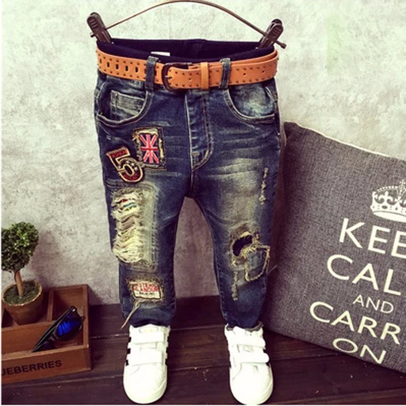 2020 new spring and autumn children's denim pants baby boys jeans cartoon holes kids pants boy denim long jean trousers