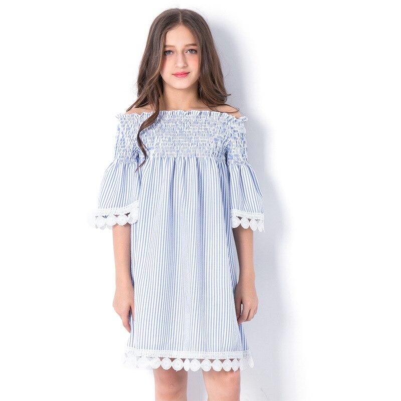 Girls Striped Princess Dress 2018 Summer Off-Shoulder Children's Dresses Girl Loose Stripe Vestidos for Teen Size 678 9 10 11 12 цена 2017