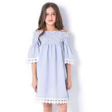 купить Girls Striped Princess Dress 2018 Summer Off-Shoulder Children's Dresses Girl Loose Stripe Vestidos for Teen Size 678 9 10 11 12 дешево