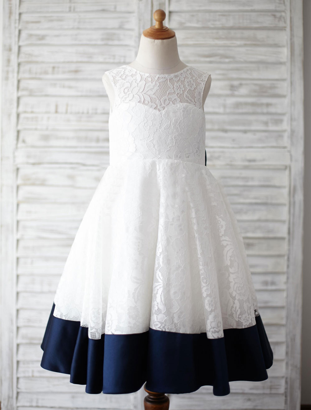 Lovely whitenavy blue lace jewel ankle flower girl dresses princess 9004aad2 1 izmirmasajfo