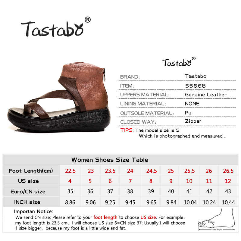 Tastabo Hakiki Deri Bayan sandalet Topuk fermuar tasarım Pu taban Siyah Kahverengi minimalist tarzı S5668 platform sandaletler 35-40
