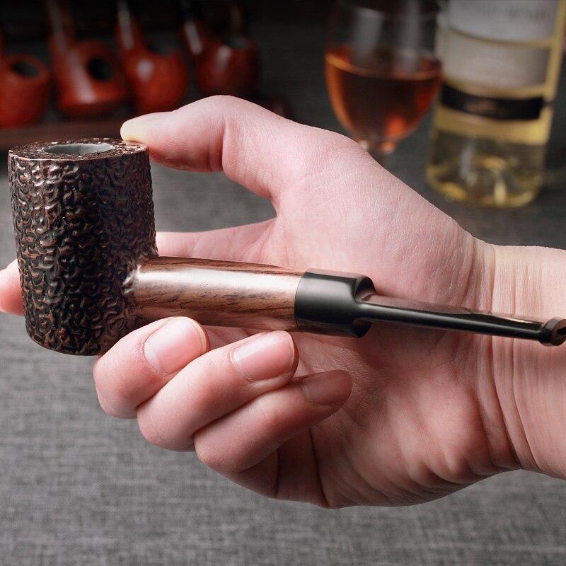 2019 ADOUS NEW Bruyere Cigarette Pipes Cigar 9mm Log Handmade Portable Smoking Tobacco Gentleman Gift Cigarette AH954