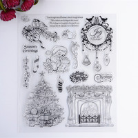 2016 New Scrapbook DIY Photo Album Cards Transparent Acrylic Silicone Rubber Clear Stamps Set Fireplace Christmas