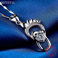 925 Silver Women Necklace Fashion Charm Heart Footpri Necklace 100 Sterling Silver High Quality AAA Zircon