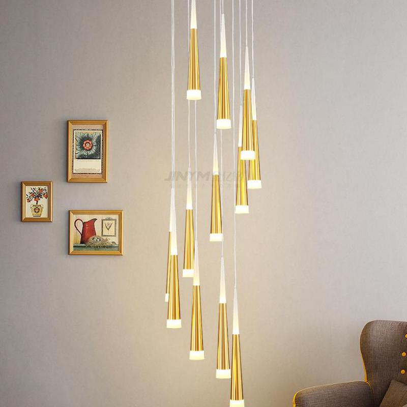 Lighting Basement Washroom Stairs: Gold Led Tube Stair Lights Suspension Staircase Chandelier