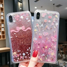 IMIDO Cartoon Glitter Dynamic Liquid Quicksand Phone Case Anti-fall Cases TPU Soft Silicone For iphone 6/7/8/X