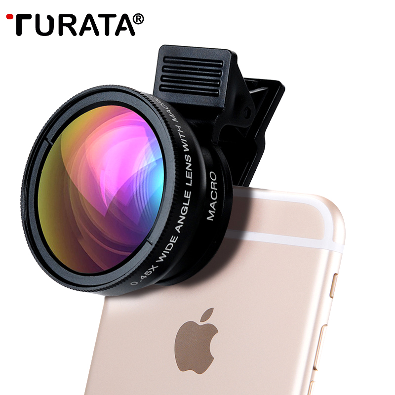 Mobile Phone Lenses Turata Universal 2 in 1 0.45X Wide Angle + 12.5X Macro With Clip 37mm HD Camera Lens Kit For iPhone Samsung