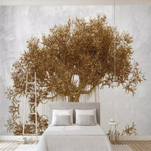 3D three-dimensional golden fortune tree wealth source wide into professional custom mural wholesale wallpaper poster photo wall
